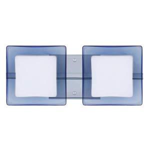 WS Opal/Blue Chrome Two-Light Bath Fixture