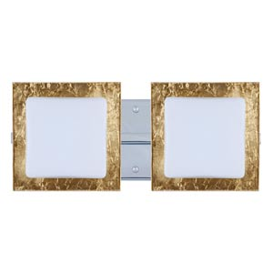 Series 7735 Opal/Gold Foil Chrome Two-Light Bath Fixture