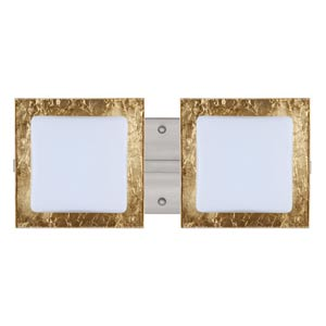 Series 7735 Opal/Gold Foil Satin Nickel Two-Light Bath Fixture