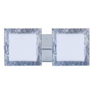 Series 7735 Opal/Silver Foil Chrome Two-Light Bath Fixture