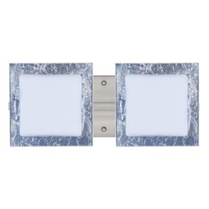 Series 7735 Opal/Silver Foil Satin Nickel Two-Light Bath Fixture