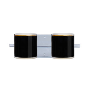 Pogo Chrome Two-Light LED Bath Vanity with Black Glass