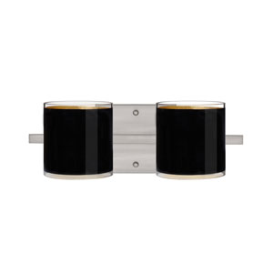 Pogo Satin Nickel Two-Light LED Bath Vanity with Black Glass