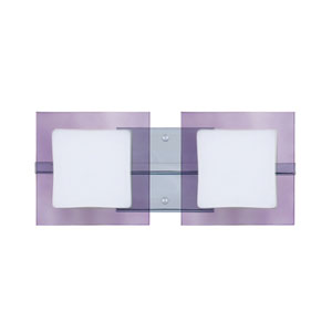 Alex Chrome Two-Light LED Bath Vanity with Opal and Amethyst Glass