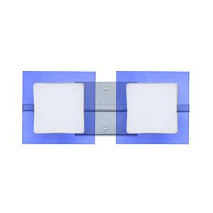 Alex Chrome Two-Light LED Bath Vanity with Opal and Blue Glass