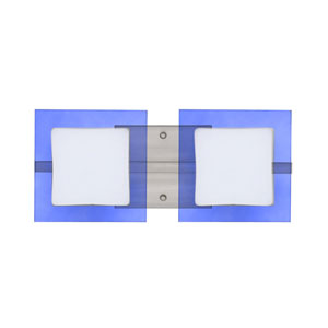 Alex Satin Nickel Two-Light LED Bath Vanity with Opal and Blue Glass