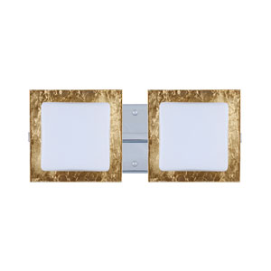 Alex Chrome Two-Light LED Bath Vanity with Opal and Gold Foil Glass