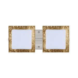 Alex Satin Nickel Two-Light LED Bath Vanity with Opal and Gold Foil Glass