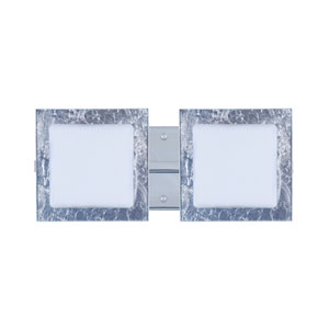 Alex Chrome Two-Light LED Bath Vanity with Opal and Silver Foil Glass