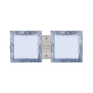 Alex Satin Nickel Two-Light LED Bath Vanity with Opal and Silver Foil Glass