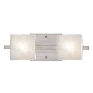 Paolo Satin Nickel Two-Light Bath Vanity with Glitter Glass