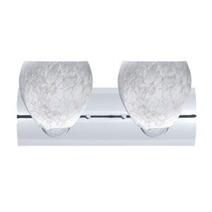 Bolla Chrome Two-Light Bath Fixture with Carrera Glass
