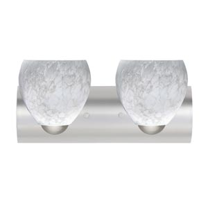 Bolla Satin Nickel Two-Light Bath Fixture with Carrera Glass