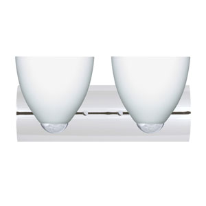 Sasha Chrome Two-Light Bath Fixture with Opal Matte Glass