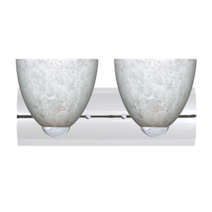 Sasha Chrome Two-Light Bath Fixture with Carrera Glass