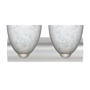 Sasha II Satin Nickel Two-Light Bath Fixture with Carrera Glass
