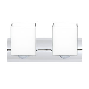 Rise Chrome Two-Light LED Bath Vanity with Opal Matte Glass