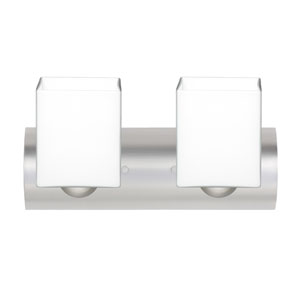 Rise Satin Nickel Two-Light LED Bath Vanity with Opal Matte Glass