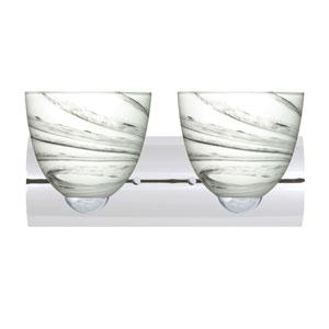 Sasha II Chrome Two-Light LED Bath Vanity with Marble Grigio Glass