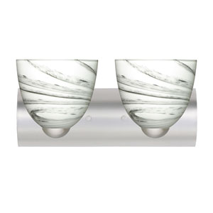 Sasha II Satin Nickel Two-Light LED Bath Vanity with Marble Grigio Glass