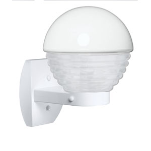 Costaluz 3061 Series Aluminum One-Light Incandescent Wall Sconce with White Glass