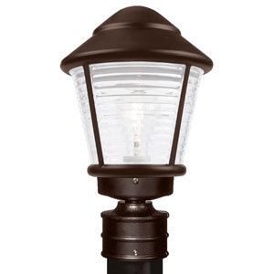 Costaluz 3100 Series Aluminum Incandescent Outdoor Post Light with Bronze Glass