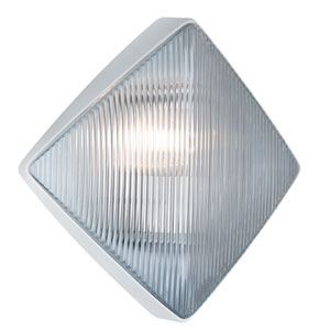 Costaluz 3110 Series Aluminum One-Light Incandescent Wall Sconce with White Glass