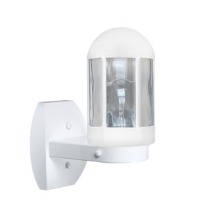 Costaluz 3151 Series Aluminum One-Light Incandescent Wall Sconce with White Glass