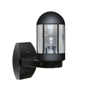 Costaluz 3151 Series Aluminum One-Light Incandescent Wall Sconce with Black Glass