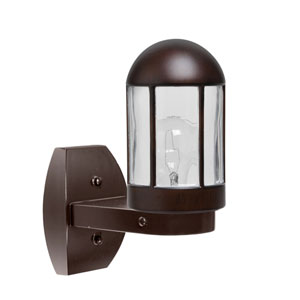 Costaluz 3151 Series Aluminum One-Light Incandescent Wall Sconce with Bronze Glass