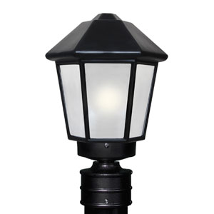 Costaluz 3272 Series Aluminum Incandescent Outdoor Post Light with Black Glass