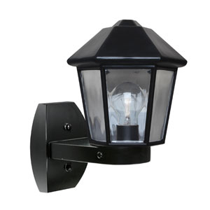 Costaluz 3272 Series Aluminum One-Light Incandescent Wall Sconce with Black Glass
