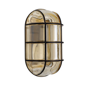 Costaluz 3961 Series Aluminum One-Light Incandescent Wall Sconce with Black Glass