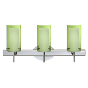 Pahu 4 Chrome Three-Light LED Bath Vanity with Transparent Olive Glass
