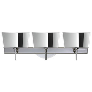 Groove Chrome Three-Light LED Bath Vanity with Mirror-Frost Glass
