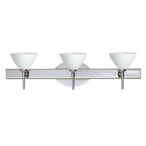 Domi Chrome Three-Light Bath Fixture with White Glass