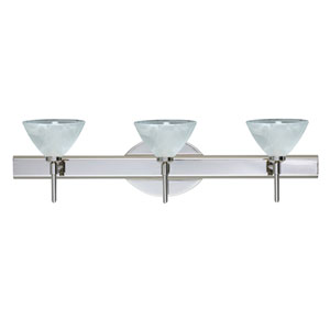 Domi Chrome Three-Light Bath Fixture with Marble Glass