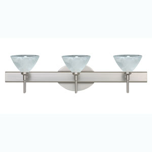 Domi Satin Nickel Three-Light Bath Fixture with Marble Glass