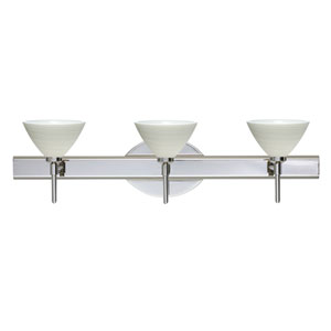 Domi Chrome Three-Light Bath Fixture with Chalk Glass