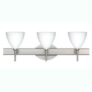 Mia Satin Nickel Three-Light Bath Fixture with Opal Matte Glass