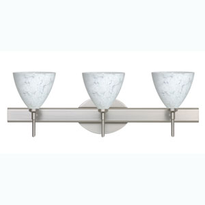 Mia Satin Nickel Three-Light Bath Fixture with Carrera Glass