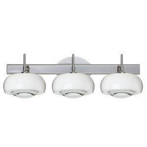Focus 3SW Chrome Three-Light Bath Fixture with Clear Glass