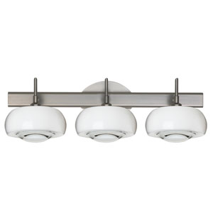 Focus 3SW Satin Nickel Three-Light Bath Fixture with Clear Glass