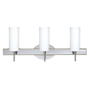 Copa Chrome Three-Light Bath Fixture with Opal Matte Glass