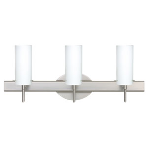 Copa Satin Nickel Three-Light Bath Fixture with Opal Matte Glass
