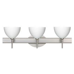 Brella Satin Nickel Three-Light Bath Fixture with White Glass