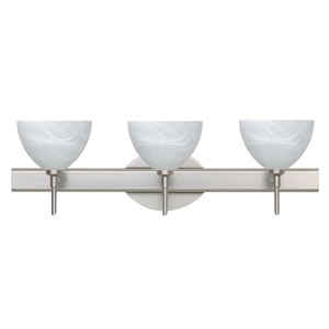 Brella Satin Nickel Three-Light Bath Fixture with Marble Glass