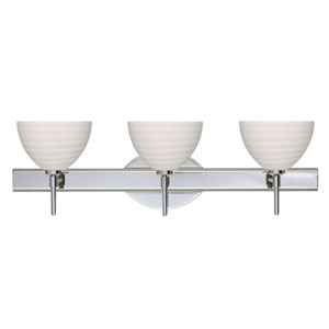 Brella Chrome Three-Light Bath Fixture with Chalk Glass