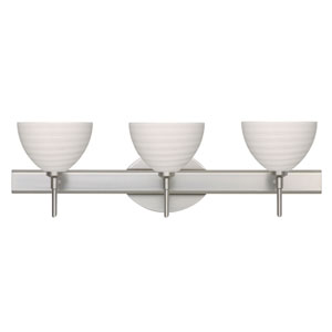 Brella Satin Nickel Three-Light Bath Fixture with Chalk Glass