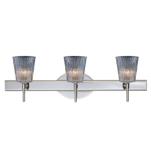 Nico Chrome Three-Light Bath Fixture with Clear Stone Glass